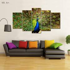 online buy wholesale peacock bedroom set from china peacock drop shipping 5 sets panels peacock print on canvas large canvas painting for bedroom living