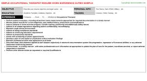 Sample Occupational Therapist Resume by Occupational Therapist Job Title Docs