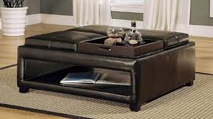 Leather Coffee Table Storage Coffee Table Espresso Coffee Table Black Leather Coffee Table With