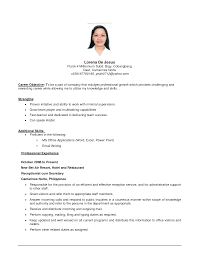experience in resume example medical office front desk resume sample objective profile include sample of job objective in resume word company letterhead template resume example of objective format pdf