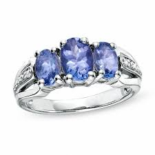 tanzanite stones rings images Oval tanzanite three stone ring in sterling silver with diamond jpg