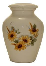 baby urn sunflower ceramic jar with lid small cremation urn keepsake urn