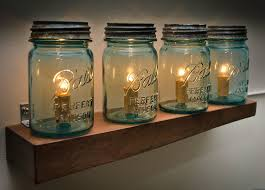 Jelly Jar Light With Cage by Vintage Blue Mason Jar Wooden Light Shelf 4 Pint Jar Wall Mount
