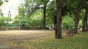Park Bench Scene Metal Park Bench In A Park Stock Footage Video 14152109 Shutterstock