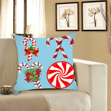 Christmas Decorative Pillow Cases by Christmas Candy Bar Pattern Linen Pillow Case Blue Red W Inch L