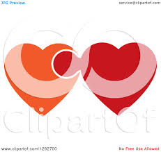 clipart of orange and red hearts connected and linked like a