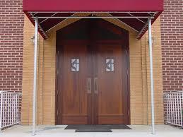 red front double doors