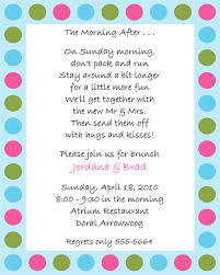 wording for day after wedding brunch invitation dots after wedding brunch invitations