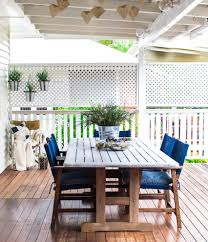 Privacy Trellis Ideas by Lattice Privacy Screen Deck Traditional With Blue Seat Cushions