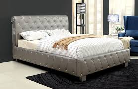 silver bed amazon com furniture of america chloe acrylic tufted leatherette