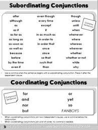subordinating conjunctions memorize this list subordinating