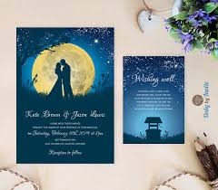 summer wedding invitations starry wedding invitations and wishing well card moon
