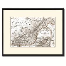 Gifts Home Decor Quebec Montreal Vintage Sepia Map Canvas Print Picture Frame