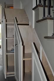 chic sliding rack for under stair storage completion diy under