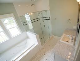 Marble Master Bathroom by Master Bathroom Suite With Subway Tile Shower Jacuzzi Tub Marble