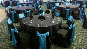 black chair covers black covers blue satin sashes a touch of class