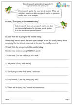 direct and indirect speech worksheets urbrainy