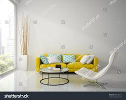 interior modern white room yellow sofa stock illustration
