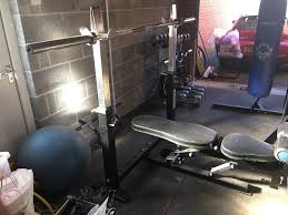 gym equipment powertech bench press adjustable rack and leg