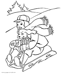 sledding in the snow coloring page justinhubbard me