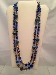 double strand beaded necklace images Signed vendome double strand blue and coppery glass bead necklace jpg