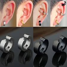 clip on earrings for men 1 pcs stainless steel circle hoop non piercing clip on