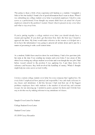 Sample College Student Resume For Internship by Cover Letter Cover Letter Example For Students Cover Letter