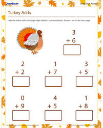 turkey adds u2013 download free 1st grade math worksheet for