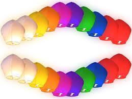 lanterne de sol en papier lot de 20 lanternes volantes multicolores chinoise colorées fête