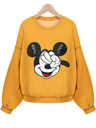 cute crop sweat shirt in fleece is my new year gift yellow mickey