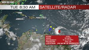 Southern Caribbean Map by Tropical Storm Don Moving Through Southern Caribbean Sea Wtnh