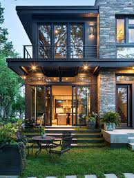 Modern Two Storey House With Streamline Roof by Small Modern Exterior Home Ideas U0026 Design Photos Houzz