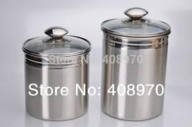 304 stainless steel 2 piece kitchen canister set countertop