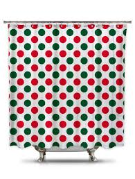 Red Polka Dot Curtains Red And Green Polk A Dot Fabric Shower Curtain Christmas Curtain