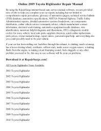 toyota highlander 2010 manual 2009 toyota highlander repair manual