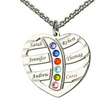 kids name necklace silver birthstone family name necklace heart with kids name