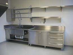 stainless steel kitchen floating shelves and sink cabinet of