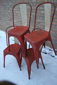 Tolix Bistro Chair Set Of 4 French Vintage Industrial Red Tolix A Chairs Sold