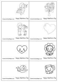 mini valentine colouring cards