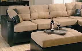 Fake Leather Sofa by Tone Tan Microfiber U0026 Dark Brown Faux Leather Sectional Sofa
