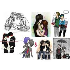 emo couple drawings polyvore
