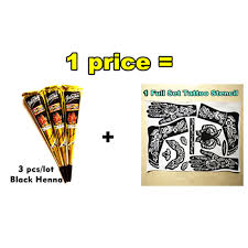 nu taty mehndi black henna tattoo paste cone 3pcs lot stencil