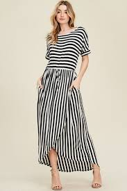 black maxi dress sydney stripe maxi dress ivory black gozon boutique
