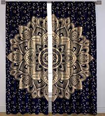 gold mandala 100 cotton tab top panel indian tapestry curtains