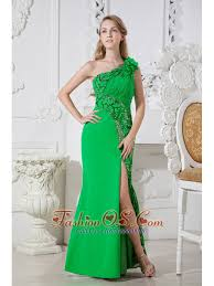 green one shoulder hand made flowers cut out prom dress floor