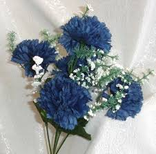 blue carnations 5 carnations navy blue marine silk wedding flowers bouquets