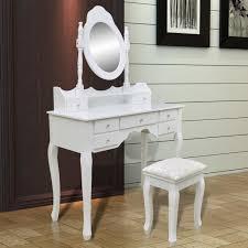 coiffeuse pour chambre coiffeuse blanche 7 tiroirs avec 1 miroir et 1 tabouret pour bijoux