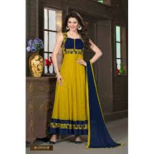 Colour Combination With Blue Golden Yellow Color With Blue Color Design Combination Anarkali Dress