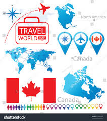 Canada World Map by Canada Flag North America World Map Stock Vector 158806808