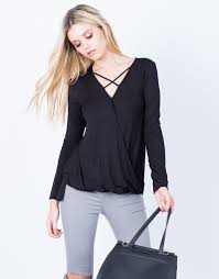 criss cross blouse criss cross knit blouse black sleeve blouse overlapping